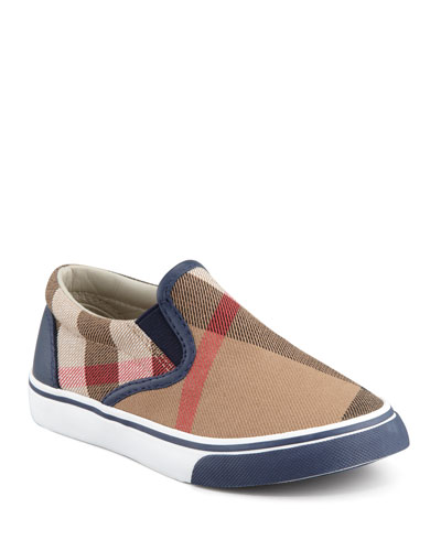 Navy Check Slip-On Sneaker, Youth