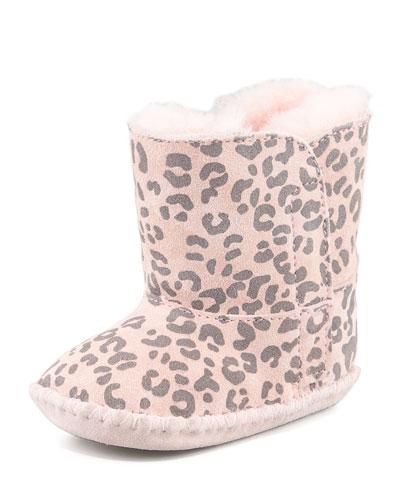 Cassie Leopard-Print Bootie, Baby Pink