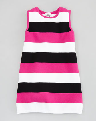 Stripe Shift Knit Dress, Pink/Black/White, Sizes 2-6/7