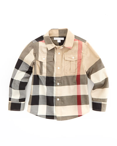 Slough Boys' Check Military Shirt, New Classic, 4Y-10Y