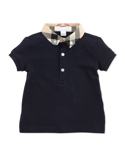 Mini Pique Polo Shirt, Navy