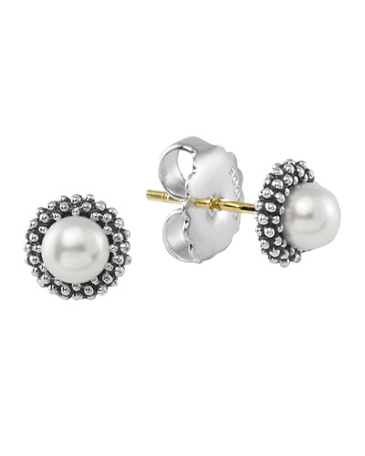 Kinder Sterling-Silver Luna Pearl Stud Earrings