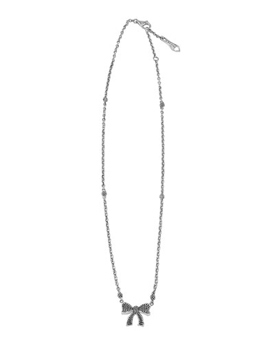Kinder Sterling Silver Cavier Bow Necklace