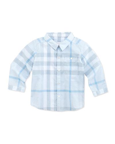 Newborn Button-Down Check Shirt, Light Blue