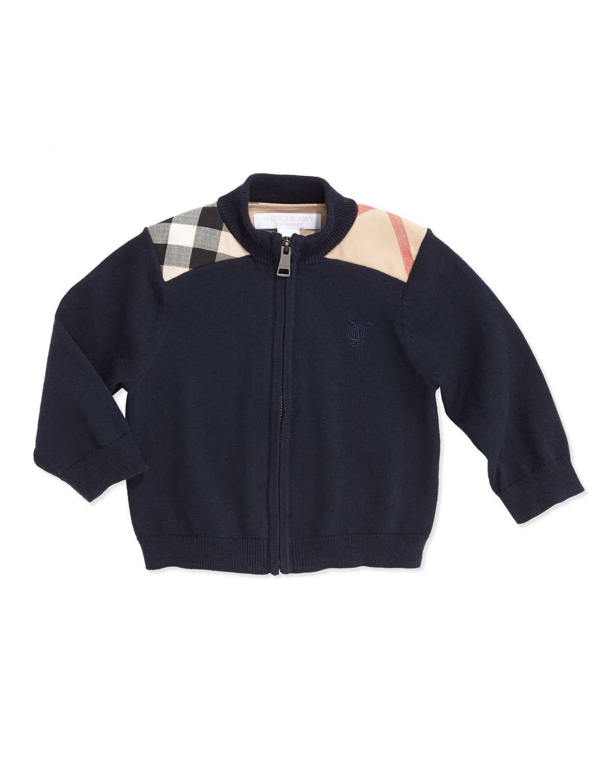 Christian Woven Check-Shoulder Zip Cardigan, Navy, 6-18 Months