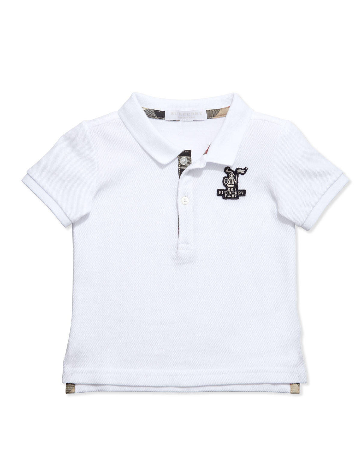 Palmer Infant Boys' Check-Trim Polo, White, 6-18 Months