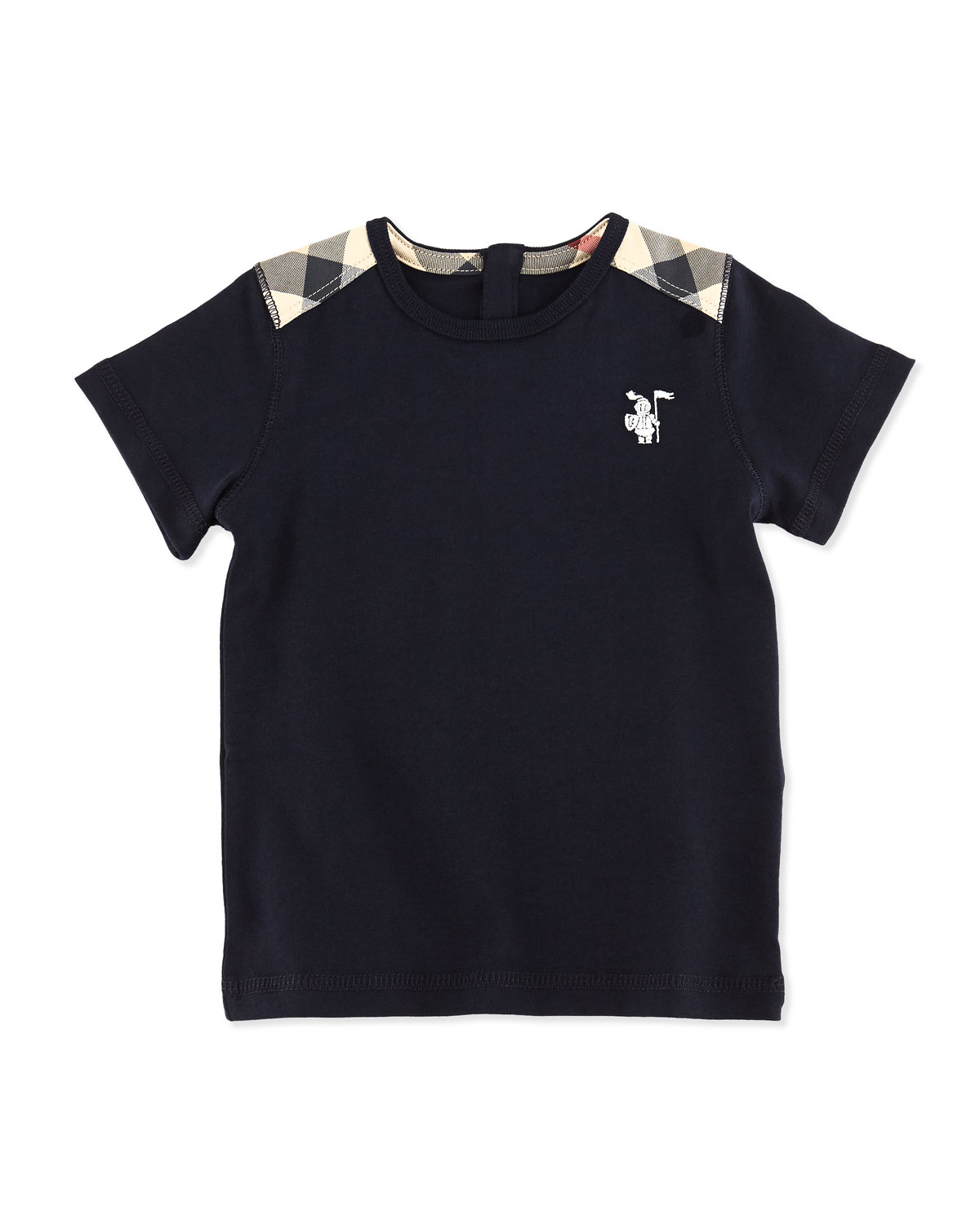 Mini-Lencel Toddler Boys' Check-Shoulder Tee, Navy