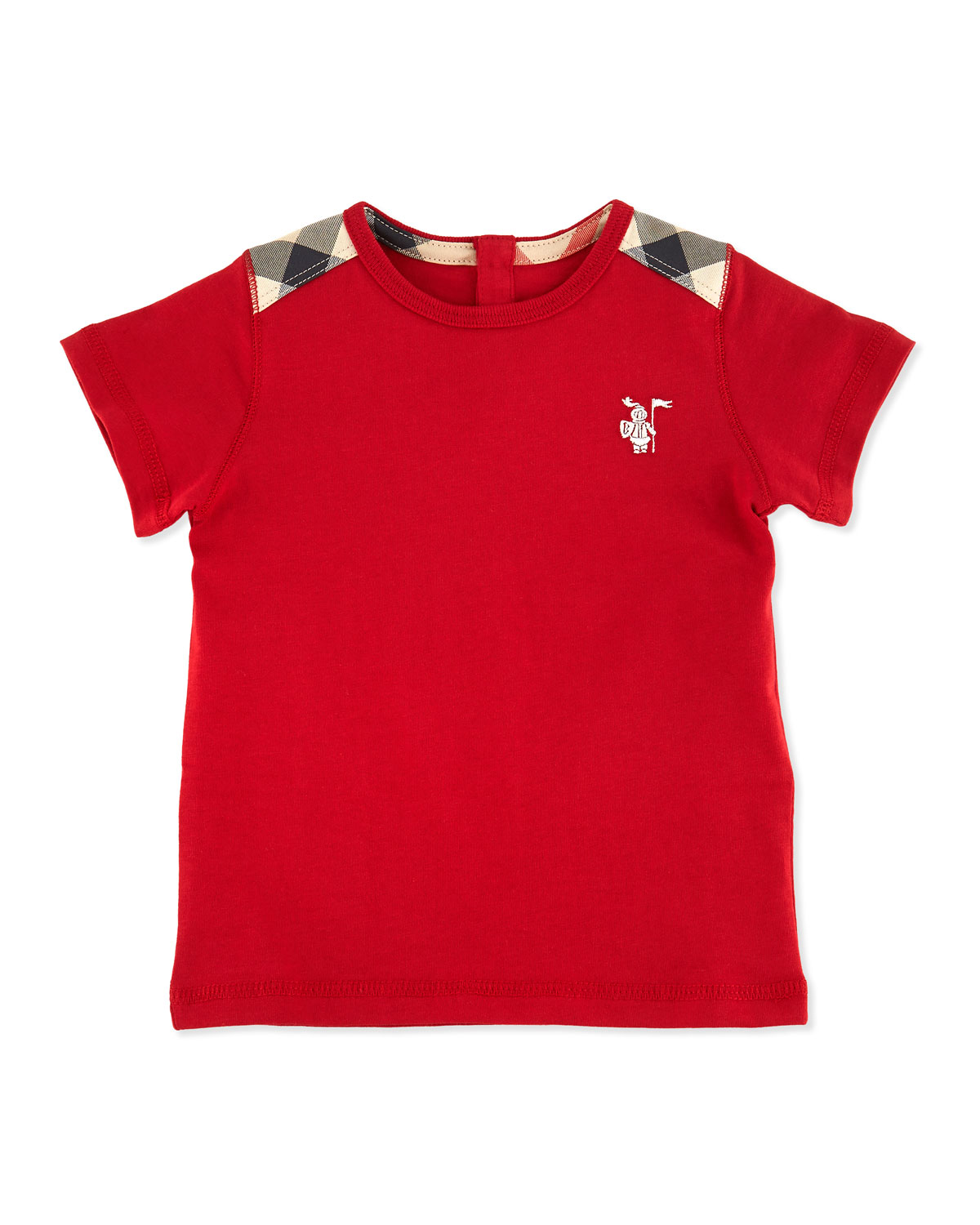 Mini-Lencel Toddler Boys' Check-Shoulder Tee, Red