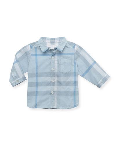 Trauls Check Long-Sleeve Shirt, Light Blue, 12 Months