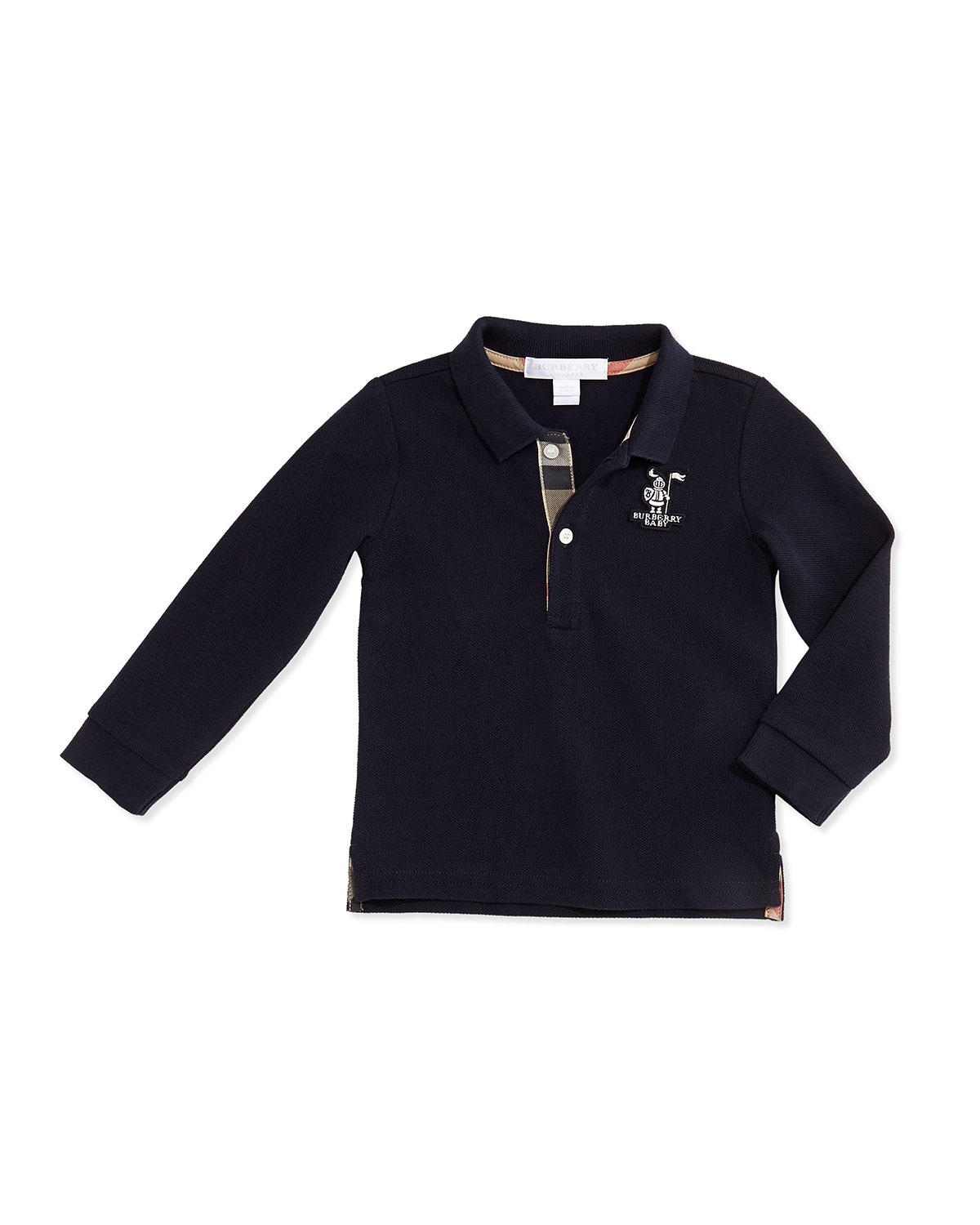 Palmer Long-Sleeve Pique-Knit Polo, Navy, 3M-3Y