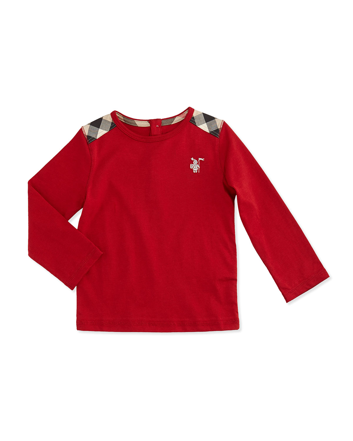 Mini-Tencel Check-Shoulder Long-Sleeve Tee, Red, 3M-18M