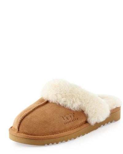 Kids' Cozy Suede Slipper, Chestnut, 10T-6Y