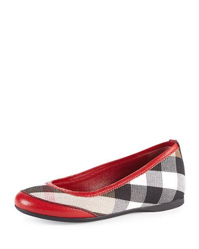 Girls' Check Ballerina Flats, Parade Red