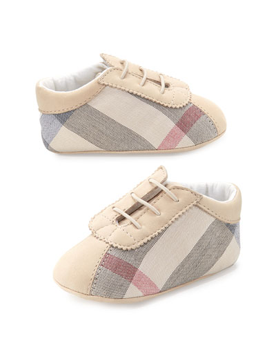 Bosco Check Newborn Boys' Shoes, Stone
