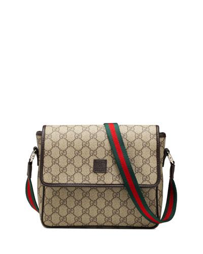 Girls' GG Supreme Messenger Bag, Beige/Brown