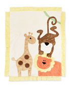 Boogie Baby Wild Ones Animal Blanket, Cream &