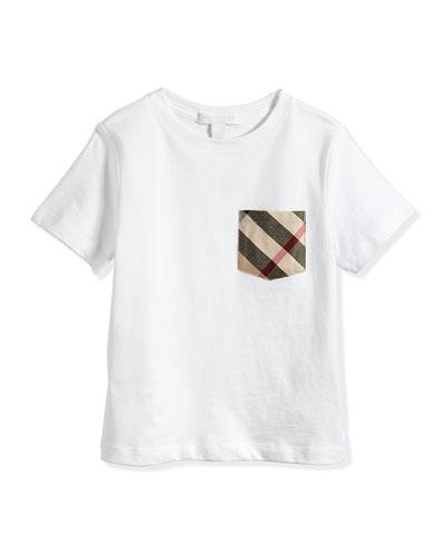 Short-Sleeve Jersey Tee w/ Pocket, White, 4Y-14Y