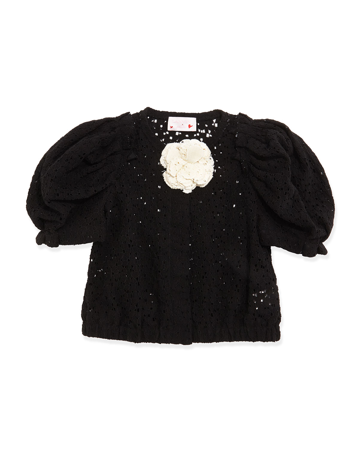 Short-Sleeve Lace Jacket, Black, Girls' Size 8-12