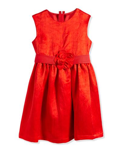 Duchess-Washed Linen Dress, Poppy Red, Sizes 8-12