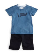 2-Piece Logo-Print Tee and Shorts Set, Navy, Size 2-8