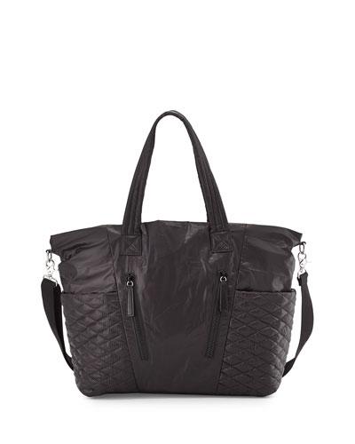 Yoko Leather-Trim Baby Bag, Black