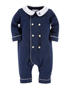 Interlock Double-Breasted Coverall, French Navy, 3-12 Months