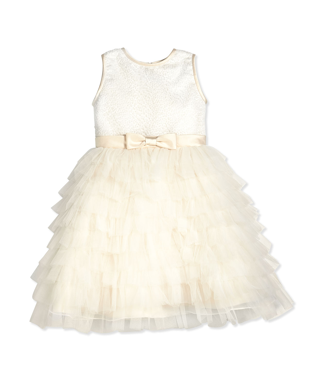 Sleeveless Sequin Tiered Dress Ivory Size 214