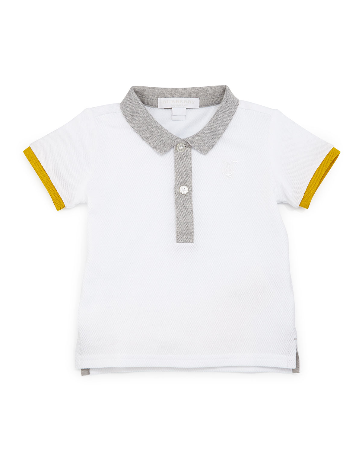 Mini Leigham Colorblock Polo Shirt, White, Size 3M-3Y