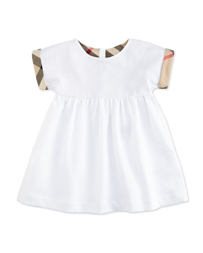 Mini Jen Smocked Pique Dress w/ Check Cuffs, White, Size 3M-3Y