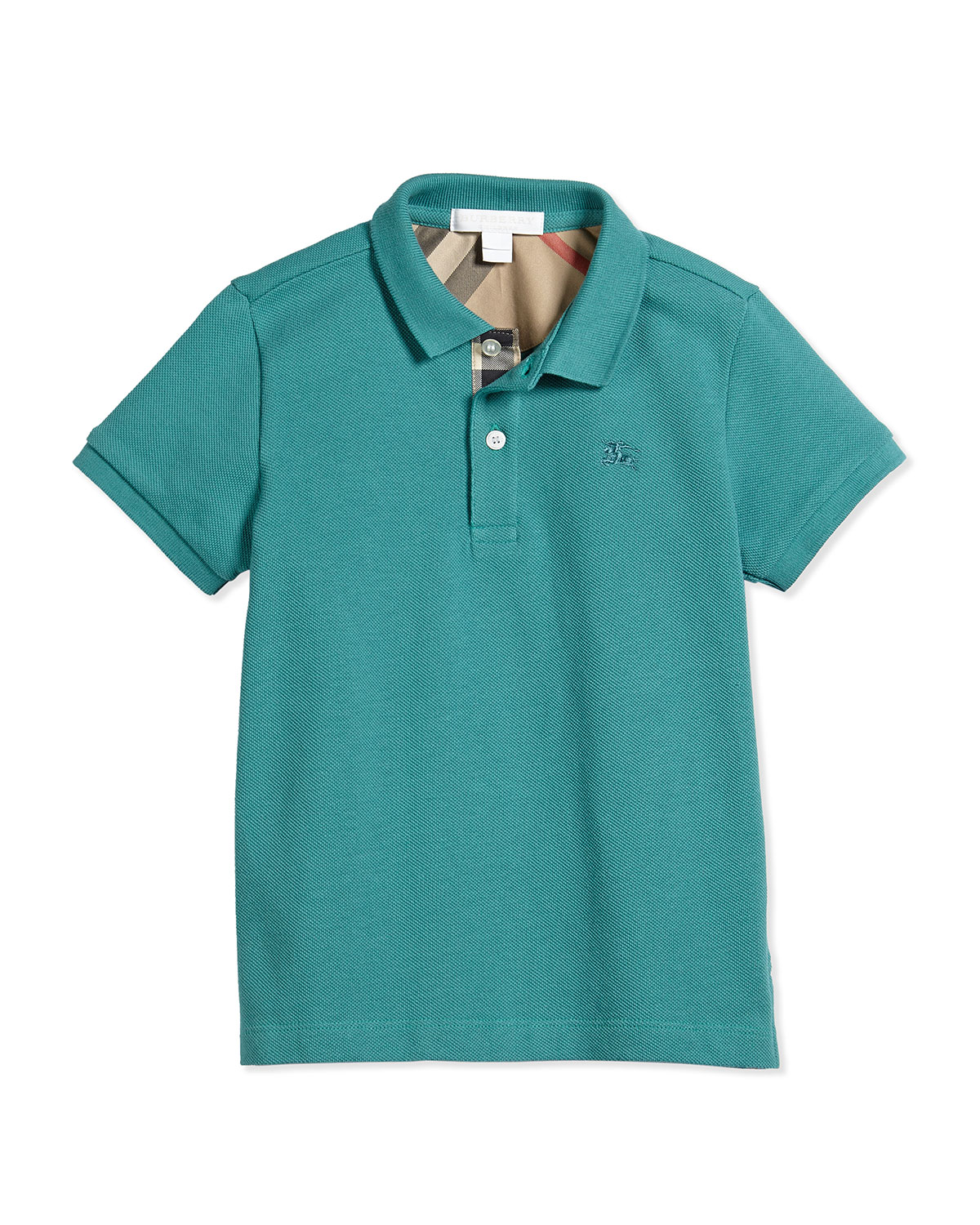 Short-Sleeve Pique Polo Shirt, Aqua Green, Size 4-14