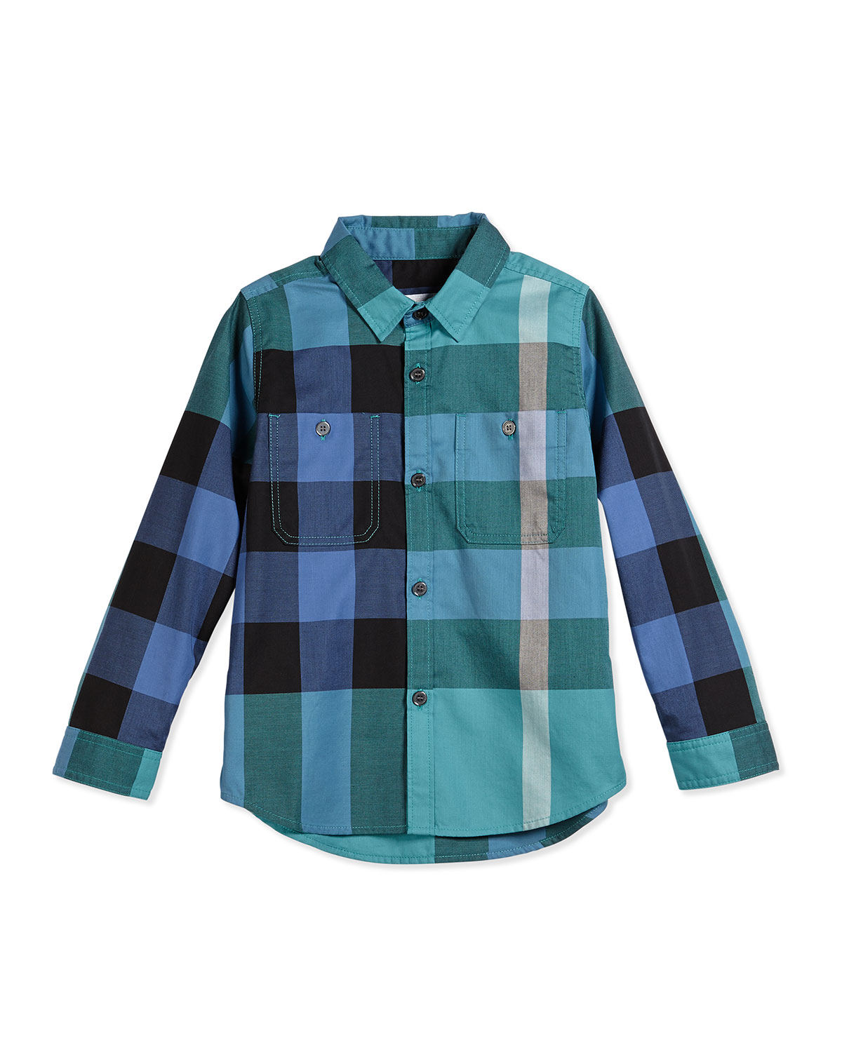 Mini Camber Long-Sleeve Check Poplin Shirt, Cyan/Green, Size 4Y-14Y