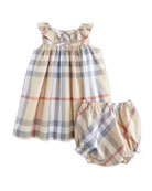 Sleeveless Check Sundress, Pale Trench, Size 3M-3Y