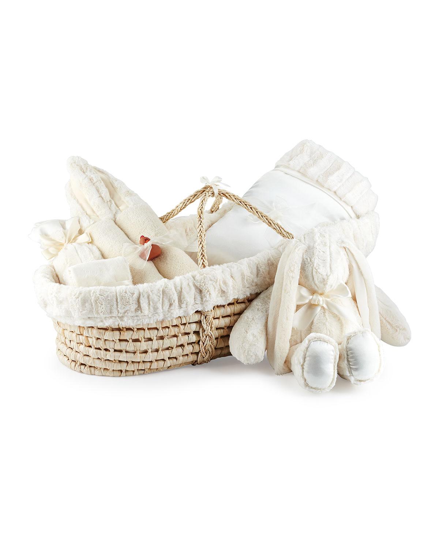 Swankie Blankie Plush Gift Basket, Ivory