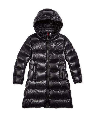 Suyen Hooded Down Coat, Black, Size 4-6