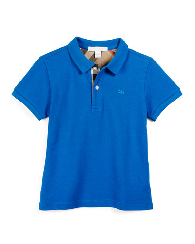 Short-Sleeve Cotton Polo Shirt, Bright Opal, Size 4-14