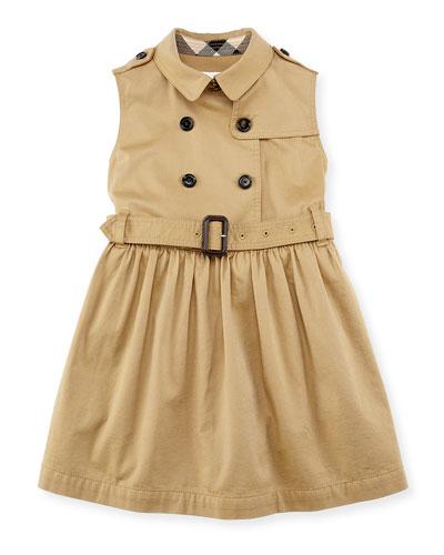 Iliana Sleeveless Trench Dress, Amber, Girls' 4-14
