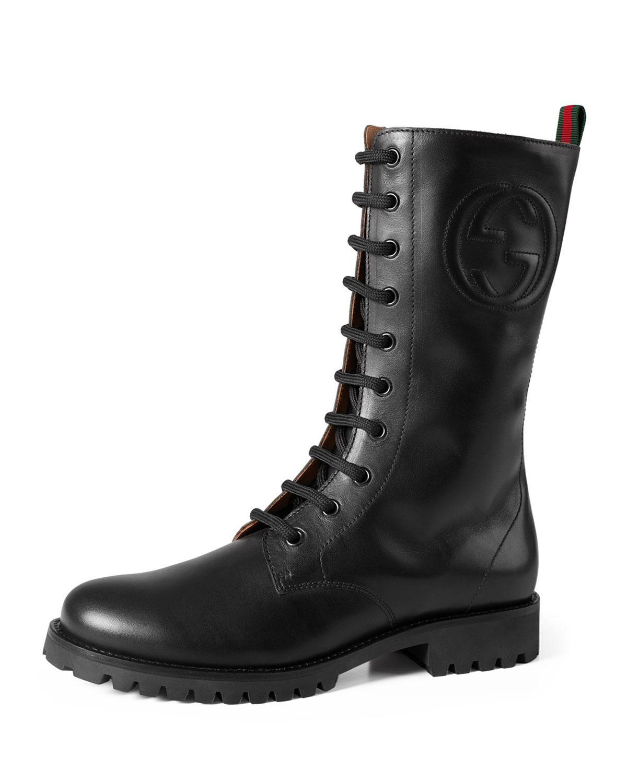 Nina Leather Combat Boot, Black, Teen