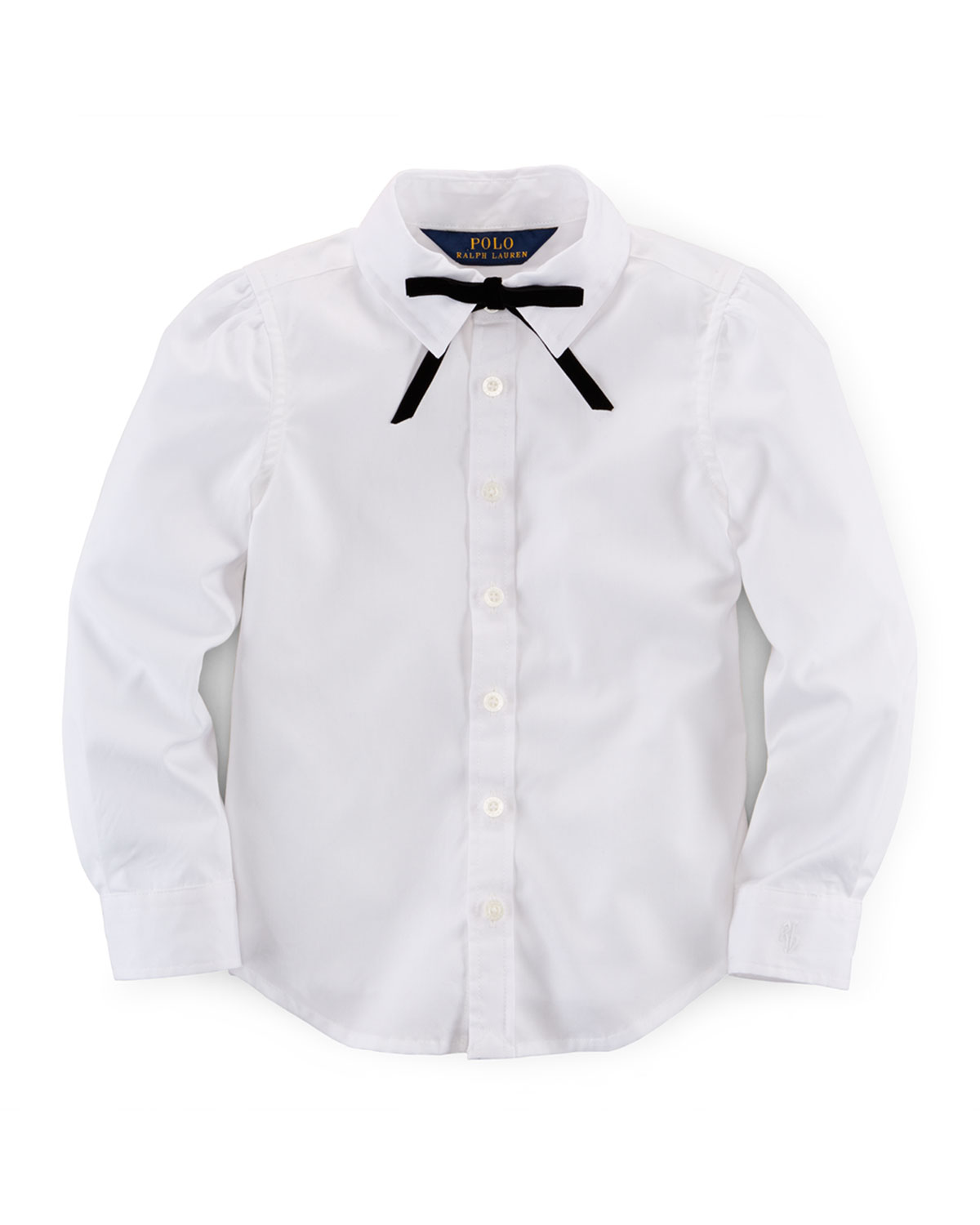 Cotton Broadcloth Shirt w/ Tie, White, Size 2T-6X