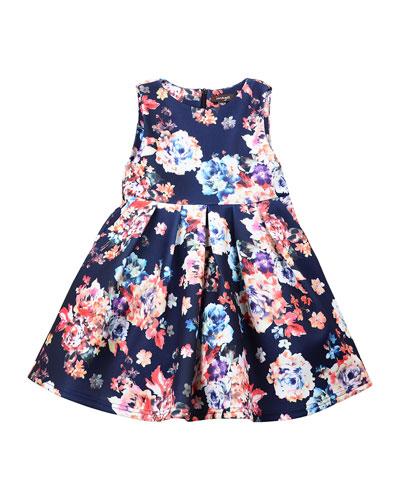 Sleeveless Pleated A-Line Dress, Size 8-14