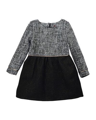 Sophia Long-Sleeve Tweed A-Line Dress, Black/White, Size 8-14