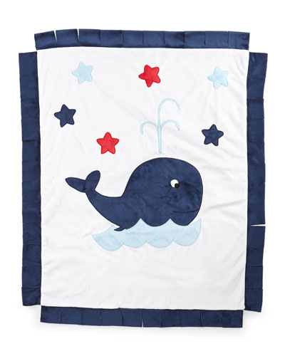 Plush Whale Blanket, White/Navy