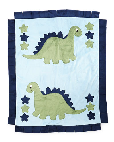 Plush Dino the Dinosaur Blanket, Blue/Green
