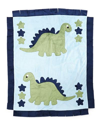 Boogie Baby Plush Dino The Dinosaur Blanket, Blue / green