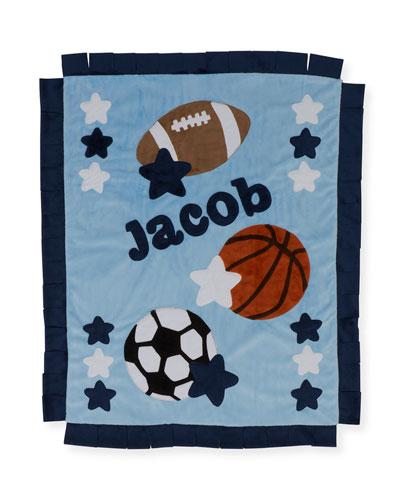 Boogie Baby Good Sport Plush Blanket, Gray / blue