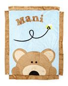 Plush Peek-A-Boo Bear Blanket, Blue/Brown