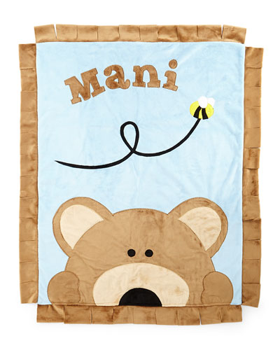 Boogie Baby Plush Peek - a - boo Bear Blanket, Blue / brown