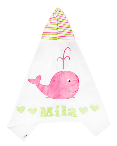 Hooded Whale Towel, White/Pink