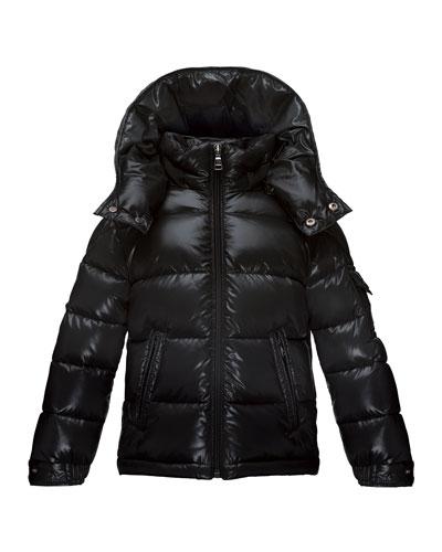 Maya Matte Zip-Front Puffer Coat, Black, Size 8-14