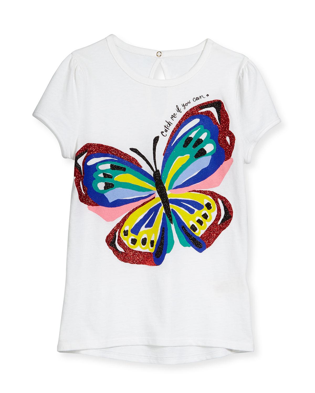 brushstroke butterfly jersey tee, white, size 2-6