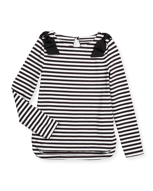 striped lena long-sleeve tee, black/cream, size s-xl